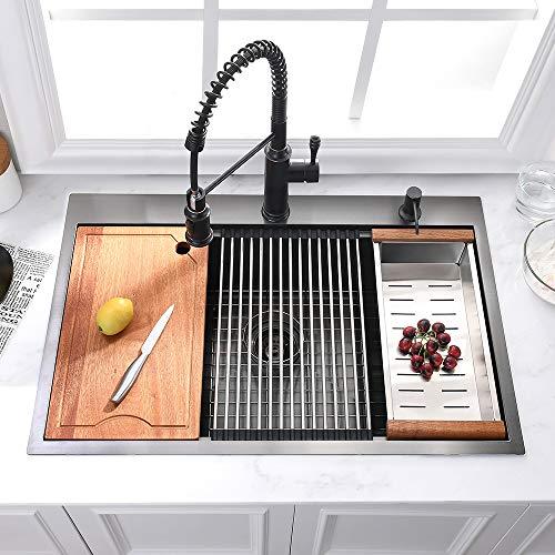 25 Black Drop In Kitchen Sink Somrxo 25 Matte Black Kitchen Sink Topmount 16 Gauge Workstation Ledge Black Stainless Kitchenfaucets Com