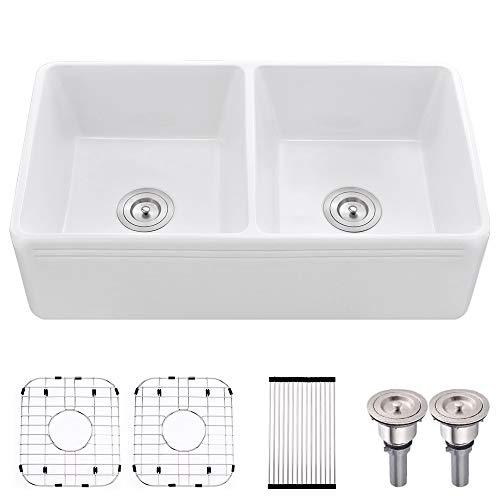 33 Farmhouse Sink Double Bowl White Bokaiya 33 Inch 50 50 Fireclay Farmhouse Apron Double Bowl Kitchen Sink White Kitchenfaucets Com