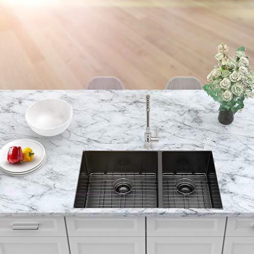 33 Undermount Double Sink Sarlai 33 Inch Kitchen Sink Matte Black 16 Gauge Undermount Double Bowl 60 40 Divide Kitchenfaucets Com