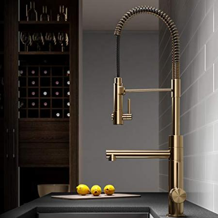 Kraus-KPF-1603BG-Artec-Pro-2-Function-Commercial-Style-Pre-Rinse-Kitchen-Faucet-with-Pull-Down-Spring-Spout-and-Pot-Filler-2475-Inch-Brushed-Gold-0