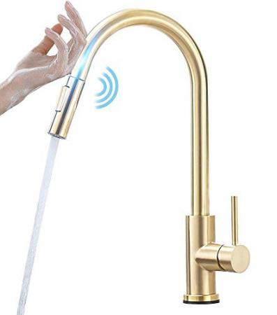 FUZMONOERE-Touch-On-Kitchen-Faucets-with-Pull-Down-Sprayer-Dual-Function-Single-Handle-One-Hole-Fingerprint-Resistant-Kitchen-FaucetBrushed-Gold-0