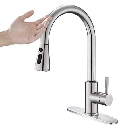 OUGOO-Touch-On-Kitchen-Faucets-with-Pull-Down-Sprayer-Sensor-Faucets-for-Kitchen-Sinks-Touch-Activated-Faucet-304-Stainless-Steel-Brushed-0