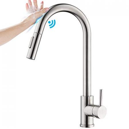 WANJINLI-Touchless-Kitchen-Faucets-with-Pull-Down-Sprayer-Touch-on-Commercial-High-Arc-Single-Handle-Sensor-Faucets-for-Sink-Pull-Out-Spray-Nozzle-Brushed-Nickel-Stainless-Steel-Lead-Free-0