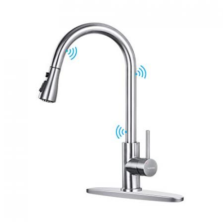 MUKSIRON-Touch-Kitchen-Faucets-with-Pull-Down-SprayerSingle-Handle-Smart-Touch-On-Kitchen-Sink-Faucets-with-Pull-Out-Sprayer-Stainless-Steel-Touch-Activated-Faucets-with-Deck-Plate-Silver-0