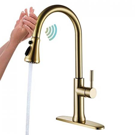 Touch-Kitchen-Faucet-with-Pull-Down-Sprayer-Brushed-Gold-Kitchen-Sink-Faucets-Single-Handle-Modern-Stainless-Steel-Faucet-for-Kitchen-Sink-Faucet-with-Deck-Plate-Fit-1-or-3-Hole-RBROHANT-0