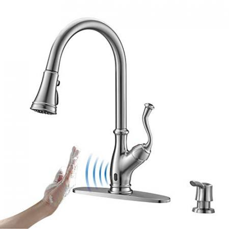 APPASO-Touchless-Kitchen-Faucet-with-Pull-Down-Sprayer-Motion-Sensing-Activated-Hands-Free-Kitchen-Faucet-Inducing-Single-Handle-Smart-Kitchen-Sink-Faucets-Stainless-Steel-Brushed-Nickel-175TL-BN-0