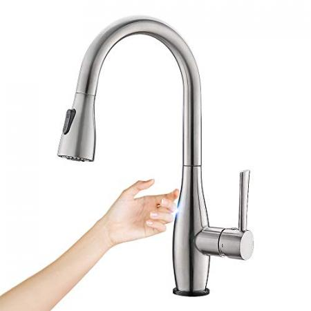 Crea-Touch-Kitchen-Faucet-with-Pull-Out-Sprayer-Handle-Touch-on-Kitchen-Faucet-Fingerprint-Resistant-Sink-Faucet-Touch-Activated-Faucet-with-8-Inch-Deck-Plate-0