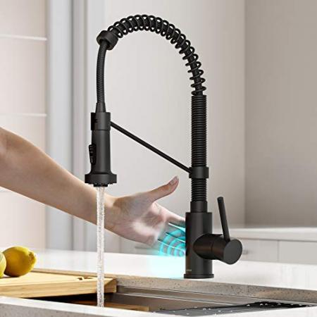 Kraus-KSF-1610MB-Bolden-Touchless-Sensor-Commercial-Pull-Down-Single-Handle-18-Inch-Kitchen-Faucet-Matte-Black-0