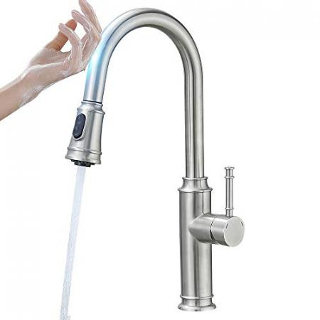 Touch-On-Kitchen-Faucets-with-Pull-Down-Sprayer-Latest-Upgrade-Smart-Kitchen-Sink-Faucets-with-Deck-Plate-Stainless-Steel-Brushed-Nickel-1006SN-0