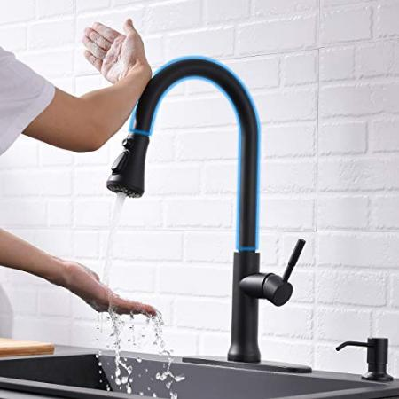 Fapully-Black-Kitchen-Faucet-with-SprayerTouch-Pull-Down-Single-Handle-Kitchen-Sink-Faucet-with-Hole-Cover-0