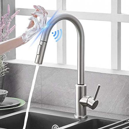 Qomolangma-Touch-Sensor-Kitchen-Faucets-with-Pull-Down-Sprayer-Touch-On-Single-Handle-Kitchen-Sink-Faucet-with-Pull-Out-Sprayer-Stainless-Steel-Fingerprint-ResistantBrushed-Nickel-0