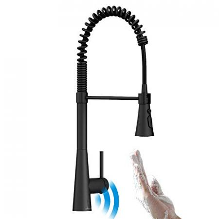 APPASO-Touchless-Commercial-Kitchen-Faucet-Black-with-Pull-Down-Sprayer-Motion-Sensor-Hands-Free-High-Arc-Spring-Pre-Rinse-Pulldown-Kitchen-Faucet-Spot-Free-Matte-Black-Finish-0